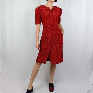80's does 40's Red Pebble Print Dress